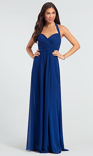 Halter Long Kleinfeld Bridesmaid Dress