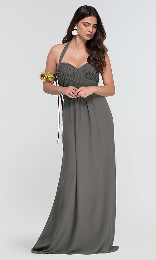 Image of halter long Kleinfeld bridesmaid dress. Style: KL-200004-v Detail Image 6