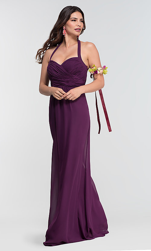 Image of halter long Kleinfeld bridesmaid dress. Style: KL-200004-v Detail Image 2