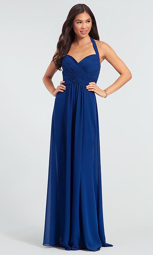 Image of halter long Kleinfeld bridesmaid dress. Style: KL-200004-v Front Image