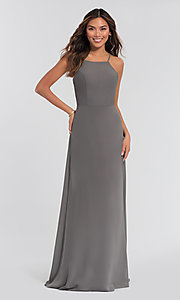 Image of high-neck open-back Kleinfeld bridesmaid dress. Style: KL-200010-v Detail Image 4