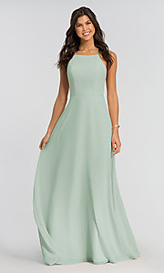 Image of high-neck open-back Kleinfeld bridesmaid dress. Style: KL-200010-v Detail Image 3