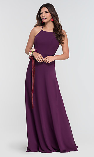 High-Neck Open-Back Kleinfeld Bridesmaid Dress
