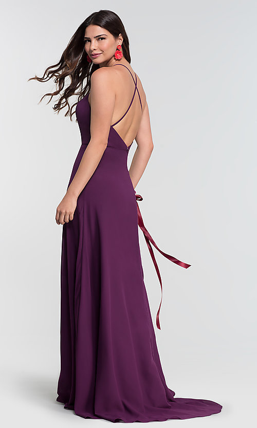 Image of high-neck open-back Kleinfeld bridesmaid dress. Style: KL-200010-v Back Image