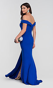 Image of long off-the-shoulder bridesmaid dress with slit. Style: KL-200025-v Back Image