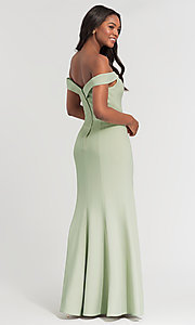 Image of long off-the-shoulder bridesmaid dress with slit. Style: KL-200025-v Detail Image 3