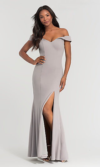 Long Off-the-Shoulder Bridesmaid Dress with Slit
