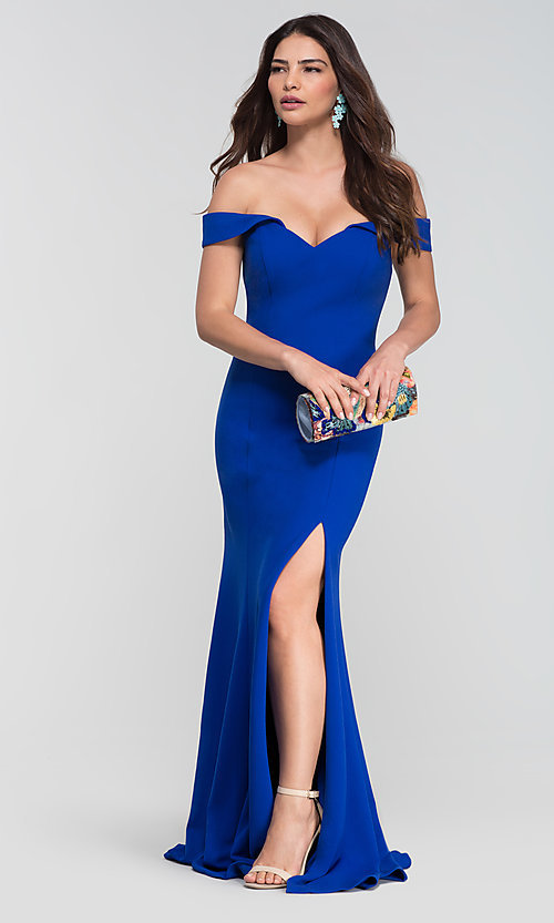 Image of long off-the-shoulder bridesmaid dress with slit. Style: KL-200025-v Front Image