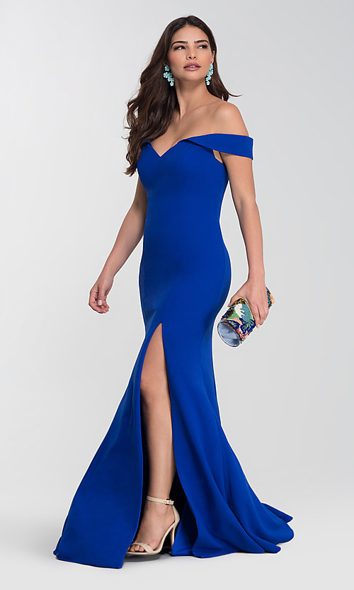 Image of long off-the-shoulder bridesmaid dress with slit. Style: KL-200025-v Detail Image 1