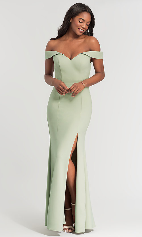 Image of long off-the-shoulder bridesmaid dress with slit. Style: KL-200025-v Detail Image 2