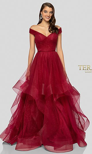 Long Glitter Ball Gown-Style Prom Dress by Terani