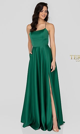 Long Satin Open-Back Designer Prom Dress by Terani