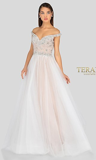 Long Ball Gown-Style Prom Dress with Beading