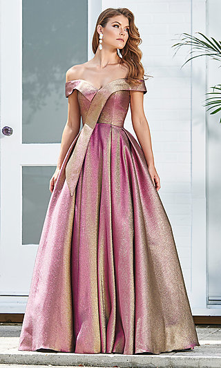 Long A-Line Metallic Off-the-Shoulder Prom Dress