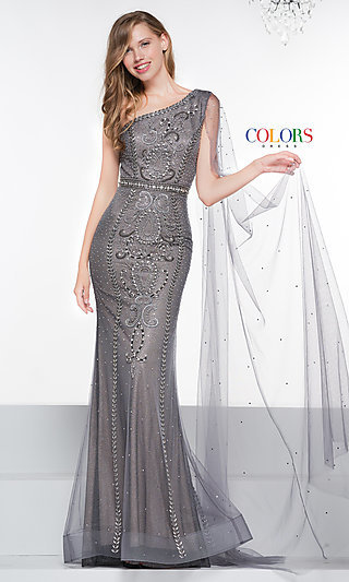 Long One-Shoulder Prom Dress with a Draped Sleeve
