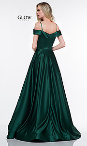 Image of off-the-shoulder prom dress with spaghetti straps. Style: CD-GL-G841 Back Image