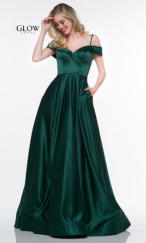 Image of off-the-shoulder prom dress with spaghetti straps. Style: CD-GL-G841 Front Image