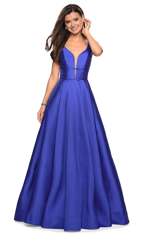 5db2c18ff61 A-Line Designer Prom Dress with Pockets by La Femme