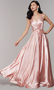 Image of long satin v-neck prom dress with pockets. Style: TE-8055 Front Image