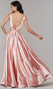 Image of long satin v-neck prom dress with pockets. Style: TE-8055 Back Image