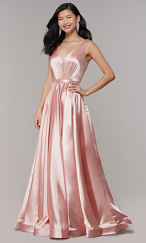 Image of long satin v-neck prom dress with pockets. Style: TE-8055 Detail Image 3