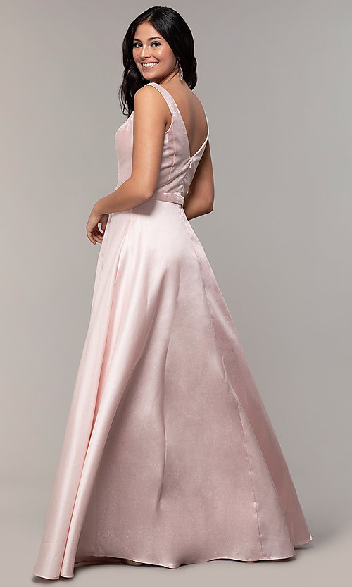 Image of long sateen a-line designer prom dress in blush pink. Style: TE-8065 Back Image