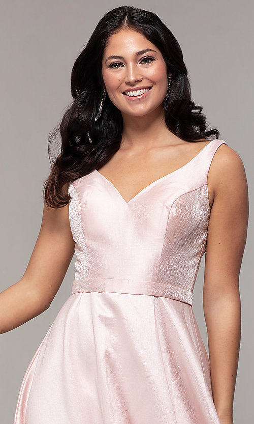 Image of long sateen a-line designer prom dress in blush pink. Style: TE-8065 Detail Image 1