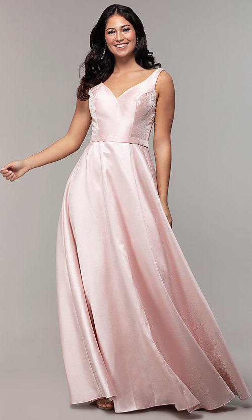 Image of long sateen a-line designer prom dress in blush pink. Style: TE-8065 Detail Image 3