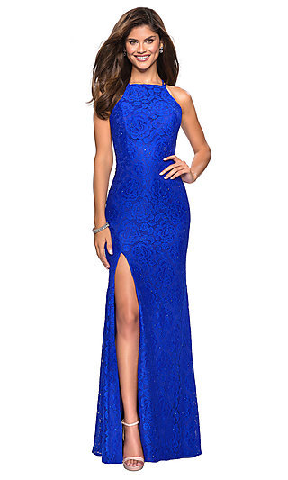 Long Lace Prom Dress with Criss-Cross Straps