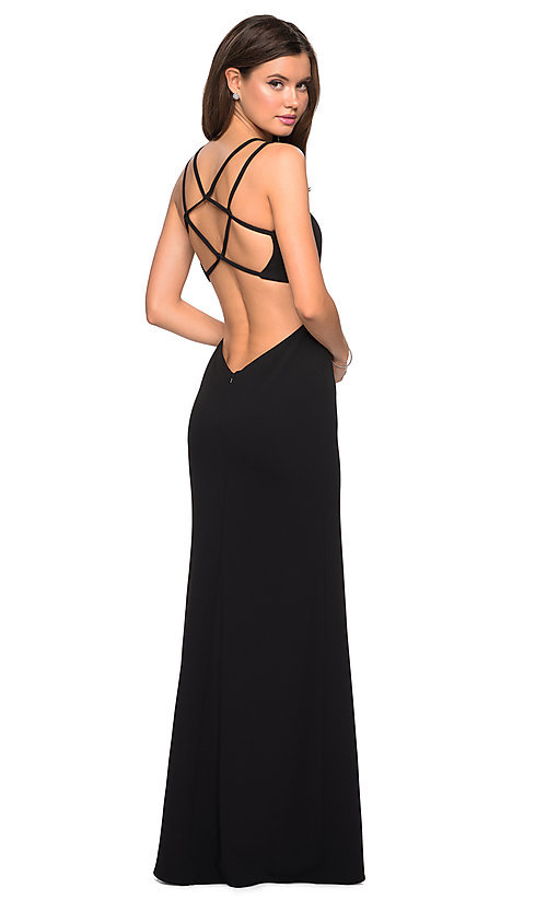 Image of backless asymmetrical-neck long prom dress. Style: LF-27126 Back Image
