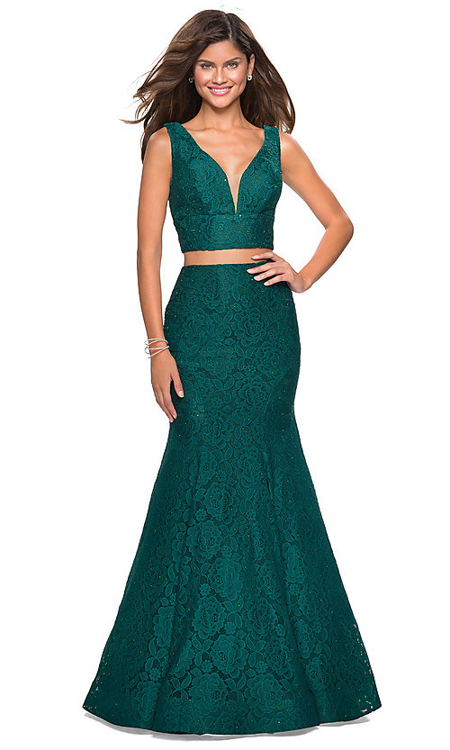 Image of long lace two-piece prom dress with mermaid skirt. Style: LF-27262 Detail Image 5