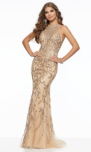 High Neck Long Lace Applique Prom Dress by Mori Lee