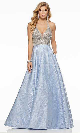 Long V-Neck Halter Prom Dress by Mori Lee