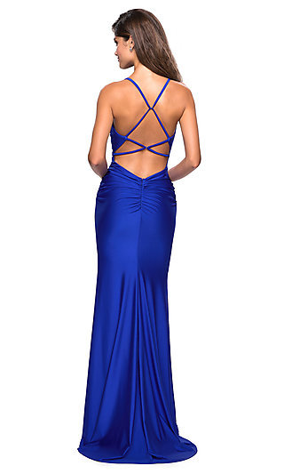 Long Ruched Jersey Designer Prom Dress by La Femme