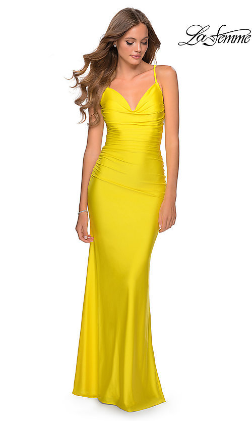 Image of long ruched jersey designer prom dress by La Femme. Style: LF-27501 Front Image