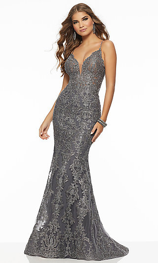 Embroidered Metallic Lace Long Prom Dress by Mori Lee