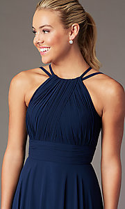 Image of ruched chiffon empire-waist long formal prom dress. Style: CD-GL-G817 Detail Image 5