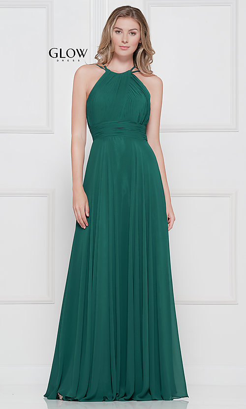 d955a8638c09 Image of ruched chiffon empire-waist long formal prom dress. Style: CD-