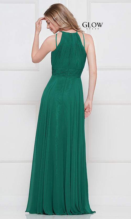 Image of ruched chiffon empire-waist long formal prom dress. Style: CD-GL-G817 Back Image