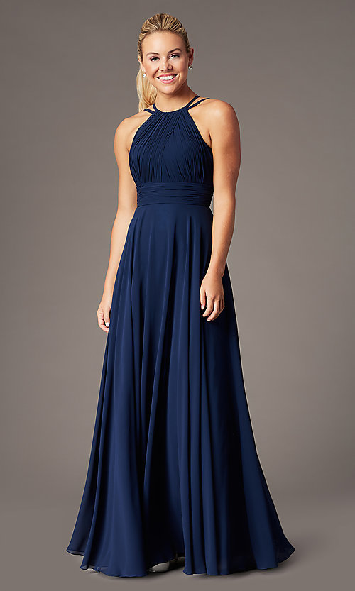 Image of ruched chiffon empire-waist long formal prom dress. Style: CD-GL-G817 Detail Image 3