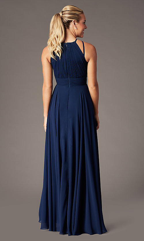 Image of ruched chiffon empire-waist long formal prom dress. Style: CD-GL-G817 Detail Image 4