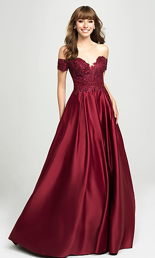 Off-the-Shoulder Satin Prom Dress by Madison James