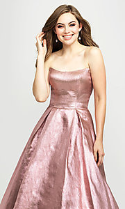 Image of long glitter strapless prom dress by Madison James.  Style: NM-19-111 Detail Image 1