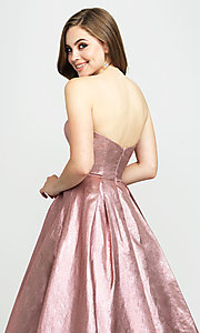 Image of long glitter strapless prom dress by Madison James.  Style: NM-19-111 Detail Image 2