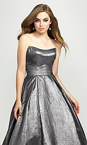 Image of long glitter strapless prom dress by Madison James.  Style: NM-19-111 Detail Image 4