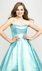 Image of long glitter strapless prom dress by Madison James.  Style: NM-19-111 Detail Image 6