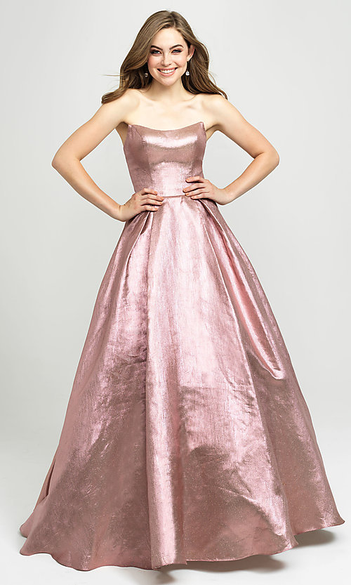 Image of long glitter strapless prom dress by Madison James.  Style: NM-19-111 Front Image