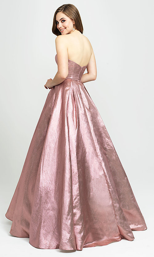 Image of long glitter strapless prom dress by Madison James.  Style: NM-19-111 Back Image