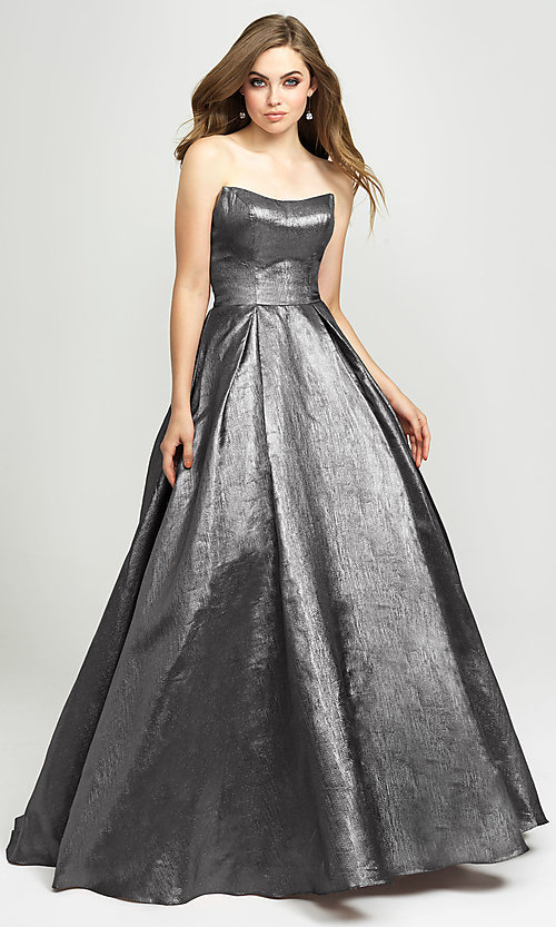 Image of long glitter strapless prom dress by Madison James.  Style: NM-19-111 Detail Image 3