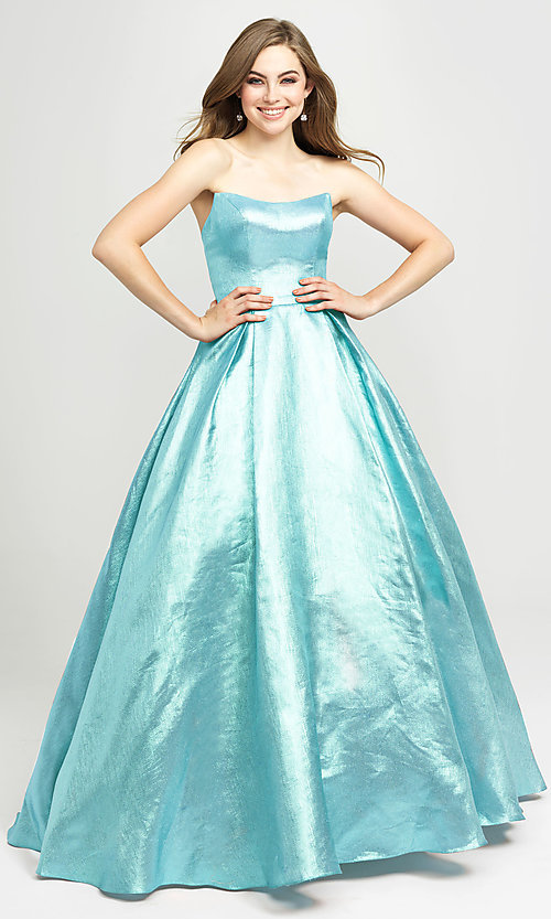 Image of long glitter strapless prom dress by Madison James.  Style: NM-19-111 Detail Image 5